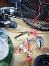Fishing still life with fishing lures Royalty Free Stock Images