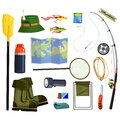 Fishing supplies set and essential equipment Royalty Free Stock Photo