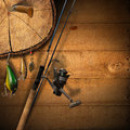 Fishing tackle background wooden with and knife Royalty Free Stock Photography