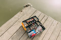 With a fishing tackle box Royalty Free Stock Photo