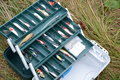 Fishing tackle box silicone fishes Royalty Free Stock Images