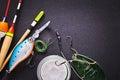 Fishing tackle on dark background Stock Photo