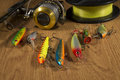 Fishing tackle spin fish on the wood Royalty Free Stock Photography