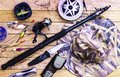 Fishing tackle on a table in a frame the theme hobby sport Royalty Free Stock Image