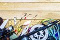 Fishing tackle on a table in a frame the theme hobby sport Royalty Free Stock Photos