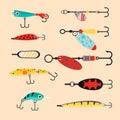Fishing tools illustration Royalty Free Stock Photo