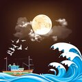 Fishing trawler boat at sea at night Royalty Free Stock Photo