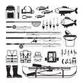 Fishing vector black icons Royalty Free Stock Photo