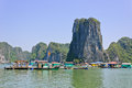 Fishing village in Halong bay Stock Photography