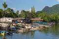 Fishing village in thailand boats a small on the adaman sea Stock Photo