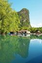 Fishing village on water thailand countryside Royalty Free Stock Photography