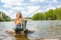 Fishing woman Royalty Free Stock Photo