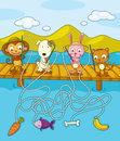 Fishing worksheet illustration of animals on pier Royalty Free Stock Photography