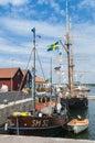 Fishingboat and brigantine oregrund sweden wetsera in harbour swedish öregrund uppsala county uppland Stock Images