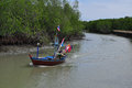 Fishingboat at the mangrove everglades in a small fishermans vil Royalty Free Stock Photo