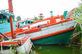 Fishingboat molder not workability in the water Royalty Free Stock Photography