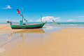 Fishingboat park at beauty beach two fishing boat in thailand asia Royalty Free Stock Photography