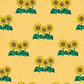 Fishnet floral pattern seamless sunflower against background Royalty Free Stock Photo