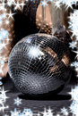 Fishnet stockings and disco ball Royalty Free Stock Photo
