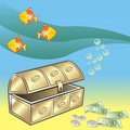 Fishs, trunk and money Royalty Free Stock Images