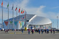 Fisht olympic stadium in sochi russia february people walk near the during xxii winter olympics this is the place of opening Stock Image