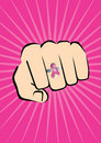Fist with breast cancer ring Royalty Free Stock Photography