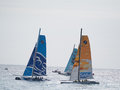 Fist first day of the extreme sailing race in angel s bay nice the extreme catamaran type capable of reaching speeds usually Royalty Free Stock Image