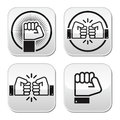 Fist fist bump buttons set power revolution liberty friendship concept black isolated on white Stock Photos