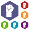 Fist icons set hexagon