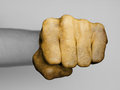 Fist of a man punching very hairy knuckles from the golden hand Royalty Free Stock Photo