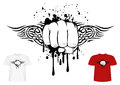 Fist and tribals vector illustration t shirt design Stock Image