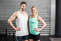 Fit couple posing together at crossfit gym Royalty Free Stock Photography