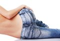 Fit female butt in jeans Royalty Free Stock Photo