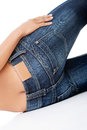 Fit female butt in jeans blue Royalty Free Stock Image