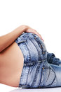 Fit female butt in jeans isolated on white Stock Images