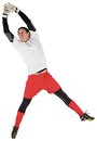 Fit goal keeper jumping up on white background Stock Images