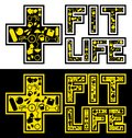 + FIT + LIFE, LETTERING ART Royalty Free Stock Photo