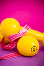 Fit life set of dumbbells and measuring tape fitness equipment Stock Image