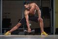 Fit Male Athlete Lifting Heavy Dumbbell Royalty Free Stock Photo