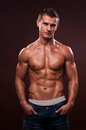 Fit male model muscled posing in studio Stock Photo