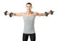 Fit man exercising with dumbbells Royalty Free Stock Photo
