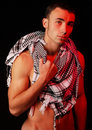 Fit man with keffiyeh Stock Images
