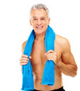 Fit mature guy with a towel around neck Stock Photo