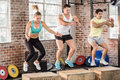 Fit People Doing Jump Box