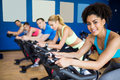 Fit people in a spin class Royalty Free Stock Photo