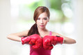 Fit woman boxing isolated over green background asian Royalty Free Stock Images