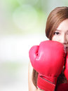 Fit woman boxing isolated over green background asian Stock Image
