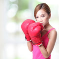 Fit woman boxing isolated over green background asian Royalty Free Stock Photo