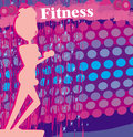Fit woman exercising - silhouette,abstract card Stock Photo