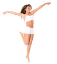 Fit woman jumping Royalty Free Stock Image